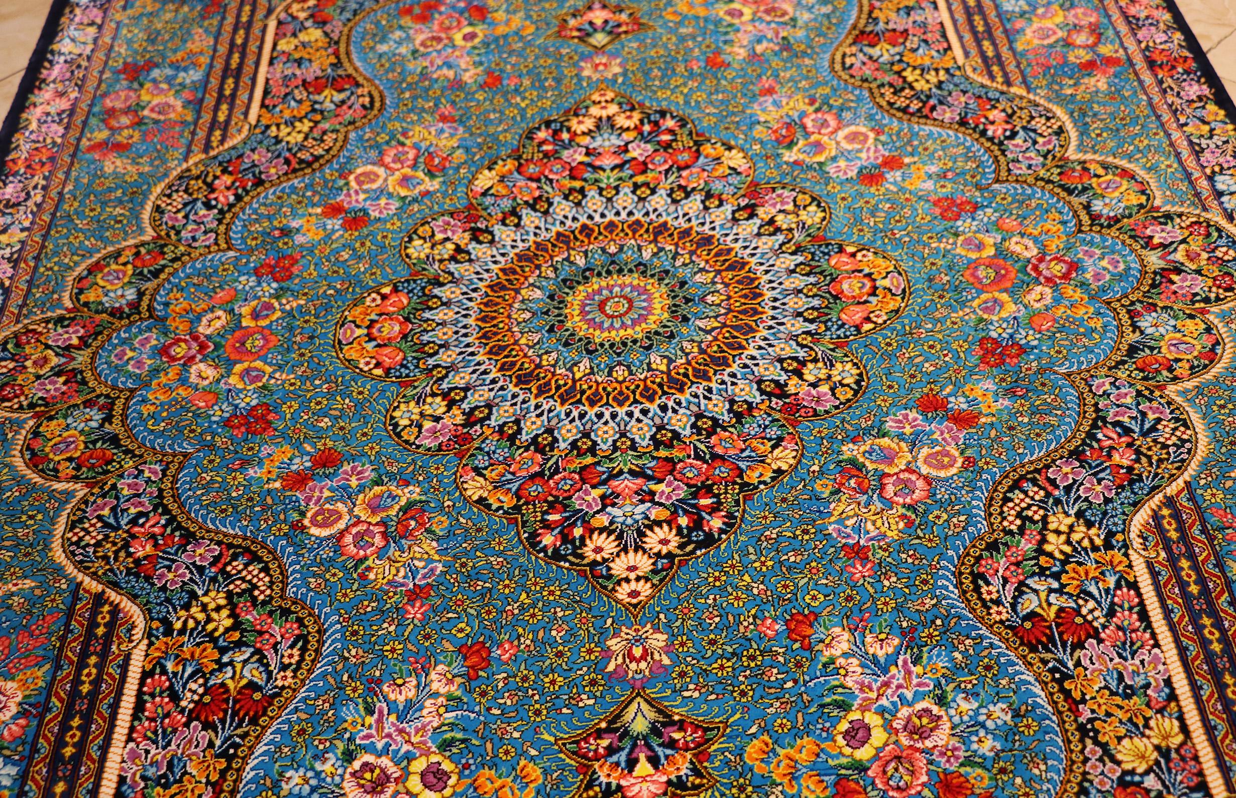 Complete Silk Carpet Lachak Toranj 150 215 100 Blue Qom