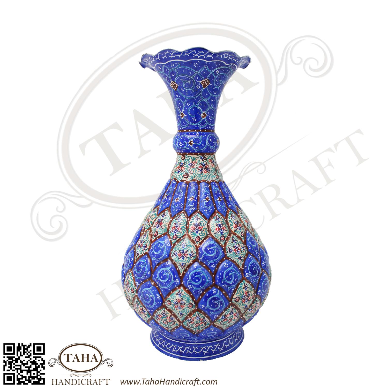 Persian Enameled Handicraft Mina Flower Pot Shalqami Design